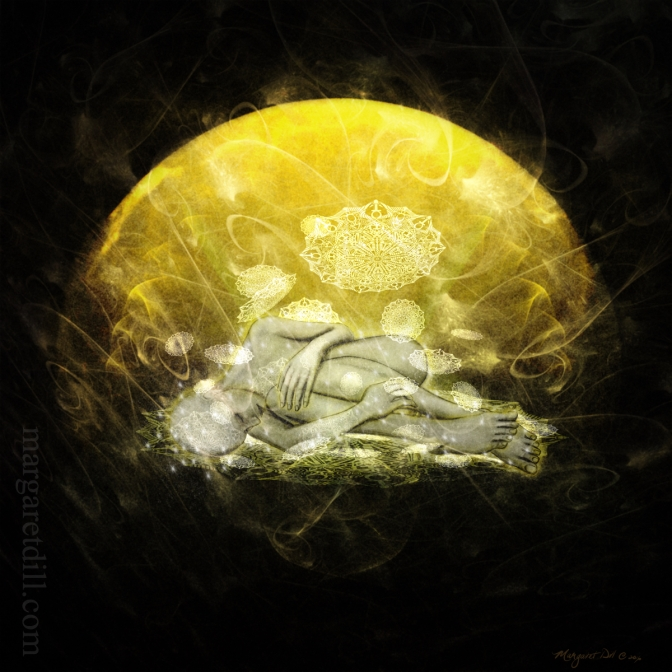 Awakening- A spiritual, visionary portrait of a woman letting go and just being, trusting the universe. Mystical portrait in sun yellow and dark brown. This visionary image is part of my beings of light collection.