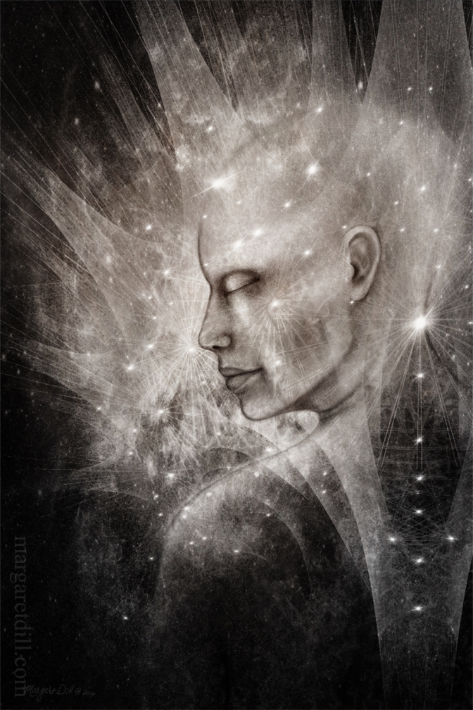 Centering-An spiritual an visionary portrait of a woman in a state of Nirvana Mystical portrait in grey sepia. This visionary image is part of my beings of light collection.