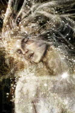 Inner Dance. An ethereal dreamlike portrait of a woman in a state of euphoria. Visionary image in soft creams and browns, is part of my beings of light collection.