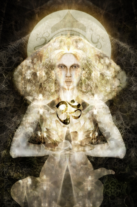 Psyche. An ethereal, visionary dreamlike portrait of a woman in soft creams and browns meditating in a yoga pose. She is part of my beings of light collection.