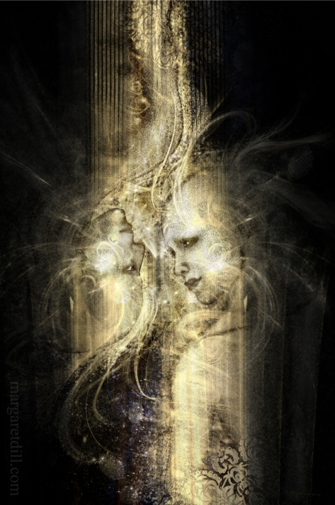 Soul Reflection- A spiritual, visionary portrait of soul mates. Mystical portrait in pale muted yellow and dark browns. This visionary image is part of my beings of light collection.