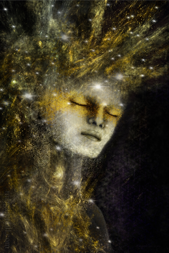 ethereal dreamlike portrait in golds and browns is part of my beings of light collection.
