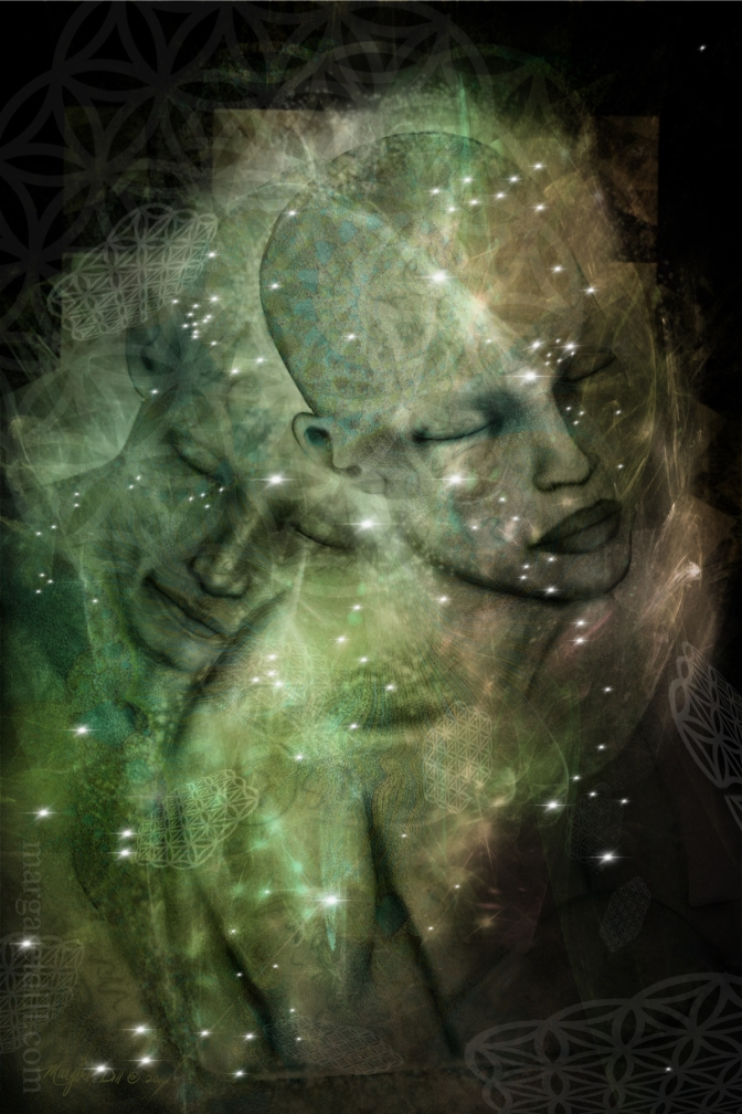 Warm Embrace A spiritual, visionary portrait of two soul embracing each others life energy. A mystical portrait in shades of greens. This visionary image is part of my beings of light collection.
